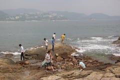 Spielen der Besucher im Strand-Park Stockbild