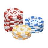 Spielen der Chips Die Regelungsmünze im Kasino Einzelne Ikone Kasino in der Karikaturartvektorsymbol-Vorratillustration Stockbild