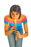 Spielen der Flöte Stockfotos