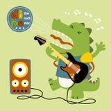 Spielen der Gitarre mit Dino-Karikatur lizenzfreie abbildung