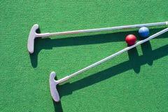 Spielen des Golfs auf dem grünen Gras Stockfotos