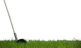 Spielen des Golfs mit weißem Hintergrund stockfotos