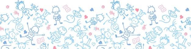Spielen des Kinderhorizontalen nahtlosen Musters Stockfotos