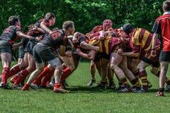Spielen des Rugbys Stockfoto