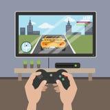 Spielen des Videospiels im Fernsehen vektor abbildung