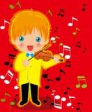 Spielen des Violinenjungen Stockbild