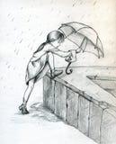Spielen im Regen Stockfotografie