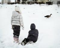 Spielen im Winter lizenzfreies stockbild