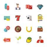 Spielen, Kasino und Pokerikonen Stellen Sie #1 Lizenzfreie Stockbilder