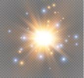 Spielen Sie auf einem transparenten Hintergrund, Lichteffekt, Vektorillustration die Hauptrolle Explosion mit Scheinen Stockbilder