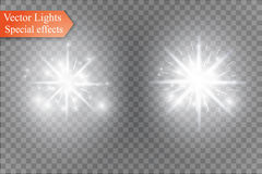 Spielen Sie auf einem transparenten Hintergrund, Lichteffekt, Vektorillustration die Hauptrolle Explosion mit Scheinen Stockfotografie