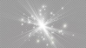 Spielen Sie auf einem transparenten Hintergrund, Lichteffekt, Vektorillustration die Hauptrolle Explosion mit Scheinen Lizenzfreies Stockfoto