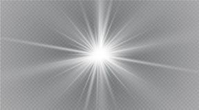 Spielen Sie auf einem transparenten Hintergrund, Lichteffekt, Vektorillustration die Hauptrolle Explosion mit Scheinen Stockfoto