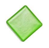Spielen Sie, bunter grüner Plastikwürfel, der lokalisierte Block Lizenzfreies Stockfoto