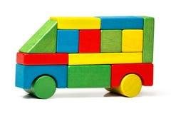 Spielen Sie Bus, Mehrfarbenautoholzklötze, Transport Lizenzfreies Stockfoto