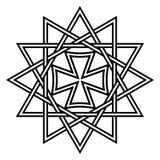 Spielen Sie Ertsgamma, glückliche 12 gezeigtes Sternamulett religiöses Symbol alten christlichen Talismans, Vektor hängender erts Lizenzfreie Stockfotografie