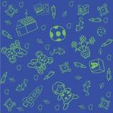 Spielen Sie Gekritzelkunst für Kinder mit blauen Hintergründen Stockfoto