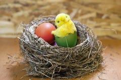 Spielen Sie Huhn in einem Oberteil hellen Ostereies in einem Nest mit Eiern Lizenzfreies Stockbild