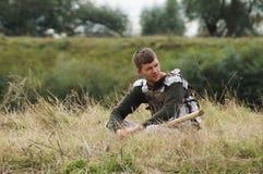 Spielen Sie Kampfwiederinkraftsetzung der Ära des Mongole-tatarischen Jochs in der Kaluga-Region von Russland am 10. September 20 Stockfotos