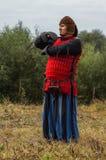 Spielen Sie Kampfwiederinkraftsetzung der Ära des Mongole-tatarischen Jochs in der Kaluga-Region von Russland am 10. September 20 Stockfoto