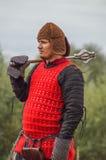Spielen Sie Kampfwiederinkraftsetzung der Ära des Mongole-tatarischen Jochs in der Kaluga-Region von Russland am 10. September 20 Stockfotografie