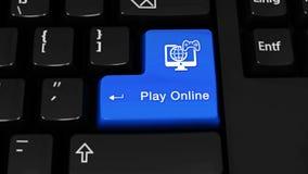 Spielen Sie on-line-Rotationsbewegung auf Computertastaturknopf stock footage