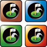 Spielen Sie Loch in einem auf mehrfarbigen Web-Ikonen Golf Lizenzfreie Stockbilder