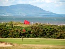 Spielen Sie Markierungsfahne auf dem Grün an einem Küstekurs Golf Lizenzfreie Stockbilder
