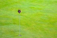 Spielen Sie Praxisübungsgrünloch und markiert mit einem roten Zeichen mit Raum Golf lizenzfreies stockbild