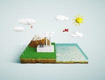 Spielen Sie Stadt auf Tablettenkonzept auf blauem Hintergrund Lizenzfreie Stockfotos