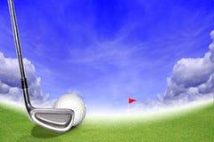 Spielen Sie Steuerknüppel und Kugel auf dem grünen Gras Golf lizenzfreie stockfotos