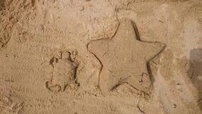 Spielen Sie und eine Schildkröte die Hauptrolle im Sand gemacht wird Lizenzfreie Stockfotos