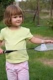 Spielen von Badminton stockfoto