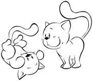 Spielen von Kätzchenskizze Stockbild