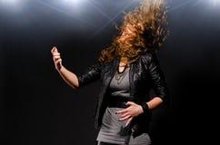 Spielen von Rockmusik Stockfoto