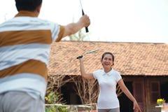 Spielen von Tennis Stockfotografie