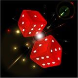 Spielen von Würfeln der roten Farbe Lizenzfreie Stockfotografie