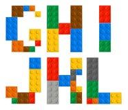 Spielen von Ziegelsteinspielzeug-Alphabetbuchstaben lizenzfreie abbildung
