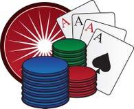 Spielende Chips und Karten lizenzfreie abbildung