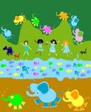 Spielende Kinder, Kindwelt lizenzfreie abbildung