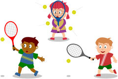 Spielende Kinder - Tennis Stock Abbildung