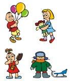 Spielende Kinder, Vektor Lizenzfreie Stockbilder