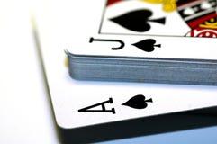 Spielende Schürhaken-Karten Lizenzfreies Stockfoto