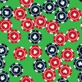 Spielendes nahtloses Muster der Chips des Kasinos Stockbild