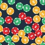 Spielendes nahtloses Muster der Chips des Kasinos Lizenzfreies Stockfoto