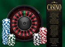 Spielendes Plakat- oder Fliegerdesign des Kasinos Kasinofahnenschablone mit dem Roulettekessel lokalisiert auf grünem Hintergrund vektor abbildung