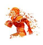 Spieler des amerikanischen Fußballs des Aquarellschattenbildes Stockfotos