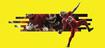 Spieler des amerikanischen Fußballs in der Aktion gegen gelbes copyspace lizenzfreie stockfotos