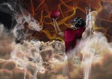 Spieler des amerikanischen Fußballs, der mit Feuerhintergrund zujubelt lizenzfreie abbildung