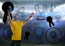 Spieler des amerikanischen Fußballs, der mit Meisterhintergrund zujubelt Lizenzfreies Stockbild